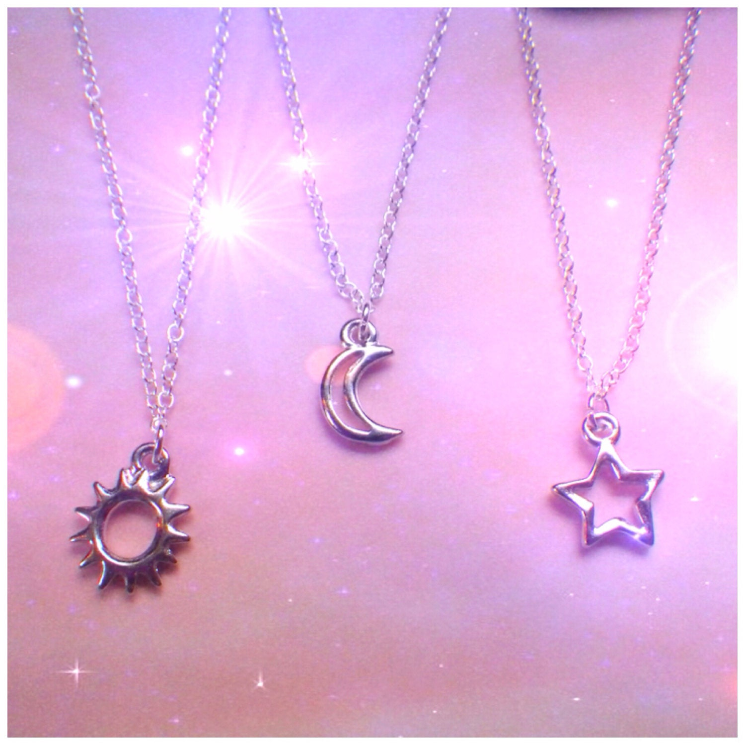 Dainty Silver Sun Moon Or Star Necklace By Lotusfairy On Etsy