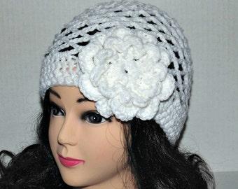 White Crochet Beanie Hat With Flower, White Summer Hat, Spring Hat