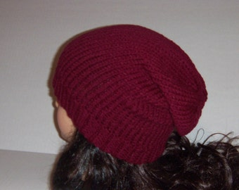 Burgundy Slouchy Beanie Hat, Winter Hat, Wine Color Slouchy Hat