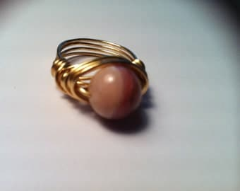 Pink Quartz Ring, Gold Wire Wrapped Ring, Rose Pink Gemstone Ring, Warm Pinks, Gifts for Her, Size 6