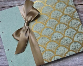 Wedding Guest Book, Art Deco in Mint and Gold {MADE upon ORDER}