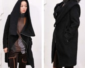 Gray and black diagonal zipper wool woolen coat
