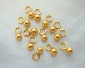 Bulk 10 20 50 pcs, Handmade 24K Gold Vermeil Sterling Silver Cute Tiny Little Dangle Charm, necklace, anklets, 5x2.5 mm, Bali, PC-0118