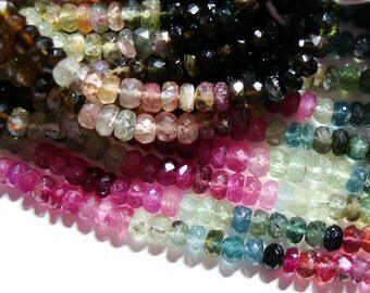 32% OFF, 2xFull Strand, 4-4.5mm, Gorgeous Sparkling Watermelon Tourmaline Faceted Rondelles, Green, Pink, Blue, Black, Gold