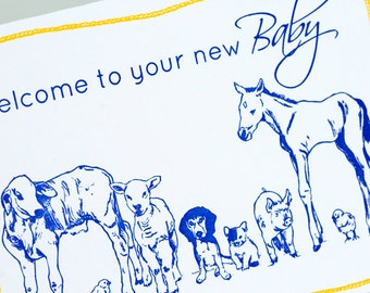 SALE - Baby Congratulations Letterpress card  - Barnyard Babies - 60% off