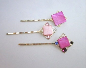 Pink Hair Pins -- Pink Hair Accessories -- Pink Hair Jewelry -- Gift Box Included