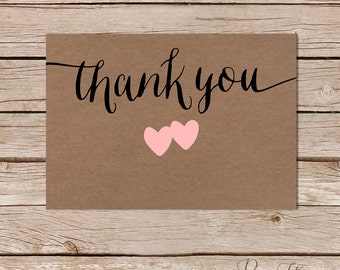 Thank you flat card /calligraphy / hearts / kraft paper/ Instant Download
