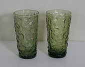 vintage green textured anchor hocking glasses set of two