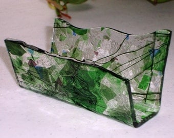 Fused Glass Business Card Holder -  Mostly Greens Blues and purples 0605