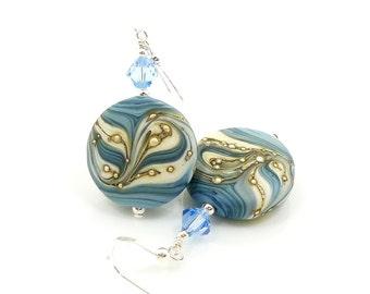 Blue Ivory Earrings, Lampwork Earrings, Beaded Glass Earrings, Beadwork Earrings, Glass Earrings, Glass Bead Earrings, Lampwork Jewelry