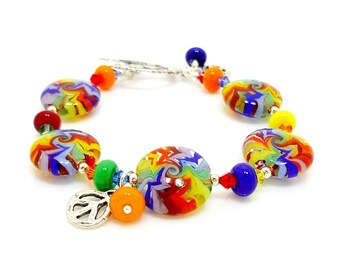 Groovy Rainbow Bracelet, Lampwork Bracelet, Glass Bracelet, Retro Jewelry, Funky Hippie Jewelry, Bright Color Jewelry, Beadwork Bracelet
