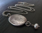 Your Silver Fingerprint Necklace with Pearl Charm. Personalized Fingerprint Jewelry. Made to Order.