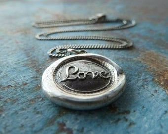 Love Wax Seal Necklace. Antiqued Fine Silver Wax Seal Jewelry. Valentine's Day