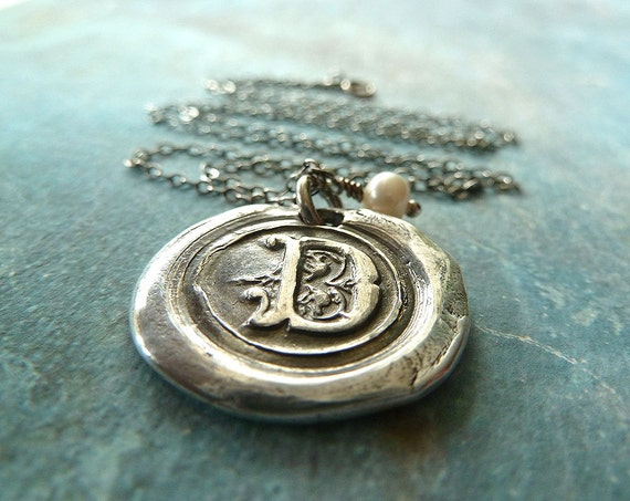 Wax Seal Necklace. Monogram Letter with Freshwater Pearl Charm. Fine Silver wax Seal Jewelry