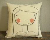 Blushing Girl - Hand Drawn - Decorative Pillow Cover - SALE