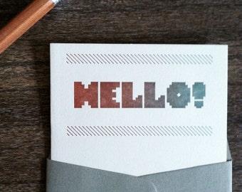 Hello Stripe no. 10 Flat Notecard Set of Six - Sienna & Moss - Letterpress