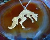 Jumping Fox Pendant, SquareHare, free postage, Vegan UK silver, Brass, Pagan, Countryside