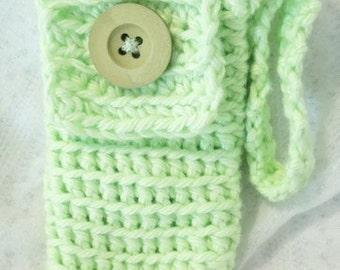 Handmade Cell Phone Wristlet Crocheted in Pistachio Green Cotton Yarn