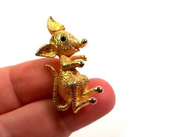 Vintage 1960s Novelty Cartoon Large Mouse Brushed Gold Brooch Pin