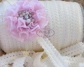 "5 Yds 1"" OFF WHITE Frilly Edge Stretch Lace Headband Elastic - DIY Hair Accessories - Elastic Hair Ties Headband Supplies"