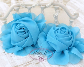 """New: Gladys Collections - TURQUOISE 3.75"""" Chiffon Silk Rolled Rosette Rose Fabric Flowers. Wedding Supplies. Hair Applique. Headband Flowers"""