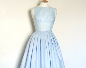 Pale Blue Linen Tiffany Prom Dress - Made by Dig For Victory