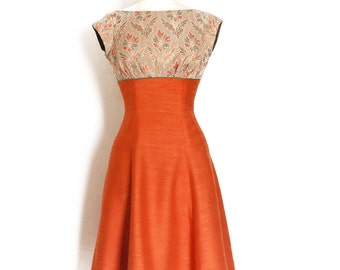 Size UK 10 (US 6-8) - Autumn Leaf Olive and Terracotta Panelled High Waisted Tea Dress- by Dig For Victory