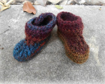 Wool Blend Baby Booties / Moccasin Set in Variegated Teal and Browns Size 3-6 months READY TO SHIP