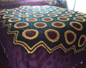 Sunflower Afghan Crocheted Bedspread Blanket - Made and Ready to Ship