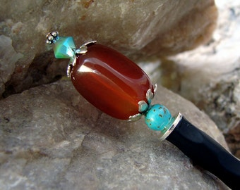 Orange Japanese Hair Stick Carnelian Nugget Turquoise Gemstone Swarovski Crystal Sterling Silver Hair Accessories Hair Chopsticks - Lexa