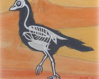 Original Pigeon Skeleton Bones Silhouette Acrylic Painting on Poplar Wood
