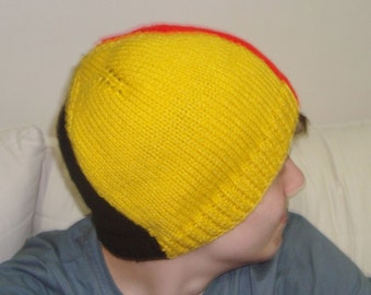 Hand Knit Belgium Flag Beanie Hat for Mens or Womens Hat Hand Knitted
