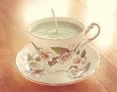 Teacup Candle - Vintage Regency China Cup with Pink Floral Design filled with Hydrogen Soy Wax Candle