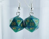 Mini Green D20 Earrings Dice Earrings, Geekery, Gamer Earrings, Dungeons and Dragons Earrings