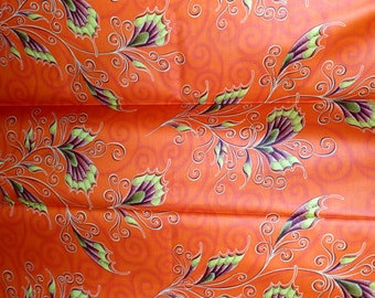 Dutch Java African Fabric Whimsical Floral Orange Print