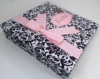 Baby Book Girl Photo Album personalized baby scrapbook baby girl Memory book Shower Gift pregnancy journal pink black damask