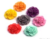 25mm Open Face Puffy Rose Resin Set of 2 Cabochons Flowers PERFECT for Rings, Necklace Matte Finish Pink Red Yellow Purple Blue