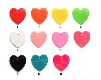 35mm Resin Heart Disc Pendant with hole drilled for Cabochons, Cabs, Cameo's, YOU customize Red White Pink Yellow Black Green