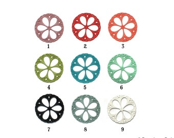 Set of 2 German Circle Filigree Pendant Resin for Earrings or Necklace 53mm Pink Red Black White Green