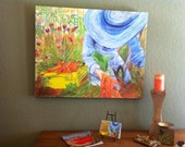 Canvas Giclee Limited Edition Print Art Ready to Hang with Farmgirl Dressed in Blue by Schad Studio. Summer Decor.