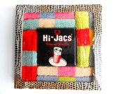 Vintage 1950s Multicolored Hi Jacs Fabric Hi Ball Coasters In Original Box