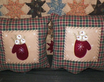 UNSTUFFED Primitive Snowman Christmas Pillow  SET Winter Mitten Snow Prim Country Home Decor Stitchery Snowmen Accent Decorative wvluckygirl