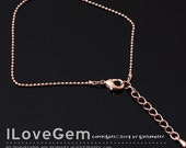 WSALE / 20 pcs / NP-1570 Chain for Bracelet, Rose Gold plated, 1.1mm Ball, 6 inch and extender 1.2 inch