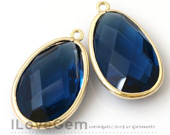 50% OFF Clearance// NP-1486 Gold Plated, Montana, Framed Glass, Big oval, Pendant, 2pcs / Framed glass, Glass pendant