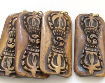 Large Carved Tibetan Vajra Dorje  rectangular convex bar shape bone pendant  - PB072