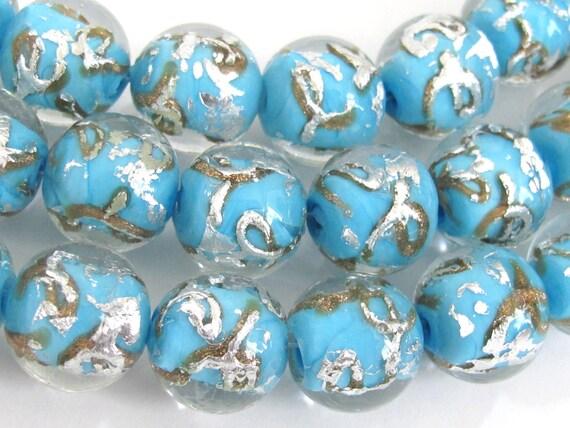 10 BEADS - Aqua Blue color silver foil gold sand lampwork glass beads - AB027