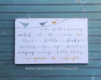 Three Little Birds Typography Word Art Sign - Customizable