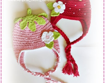 SPECIAL Crochet STRAWBERRY Beanie Earflap Hat and Booties PDF Pattern Boutique Design by AngelsChest