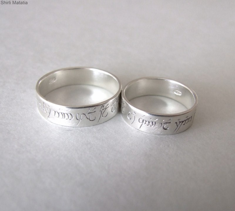 Two Silver Elven Love Rings wedding bands by shirlifantasyjewelry