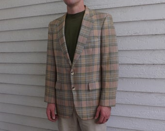 70s Plaid Jacket Blazer Sports Coat Mens Vintage Botany 40